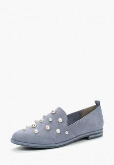 Женские голубые осенние текстильные туфли лоферы