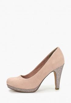 Женские розовые туфли на каблуке на платформе