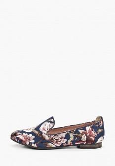 Женские синие текстильные туфли лоферы
