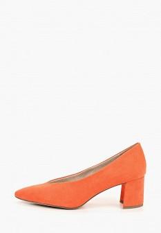 Женские оранжевые текстильные туфли на каблуке