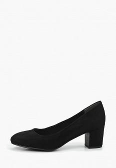 Женские черные текстильные туфли на каблуке