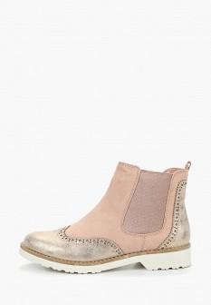 Женские розовые осенние ботинки на каблуке