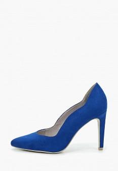 Женские синие текстильные туфли на каблуке