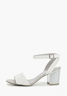 Женские белые кожаные босоножки на каблуке