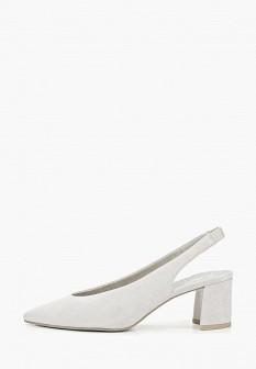 Женские серые осенние туфли на каблуке
