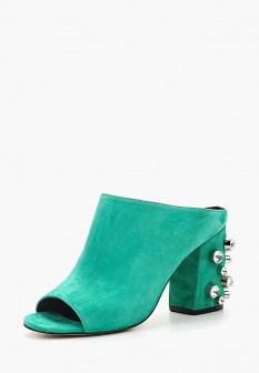 Женские зеленые сабо на каблуке