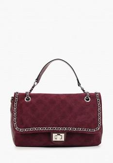 Женская бордовая осенняя кожаная сумка