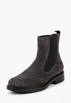 Женские серые осенние ботинки на каблуке