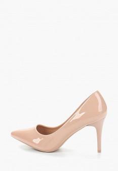 Женские розовые осенние лаковые туфли на каблуке