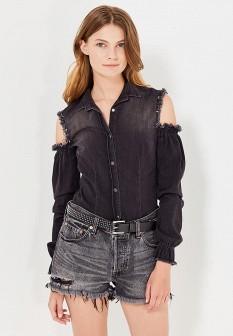 Женская черная итальянская осенняя джинсовая рубашка
