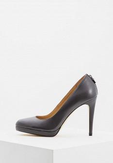 Женские серые осенние кожаные туфли на каблуке
