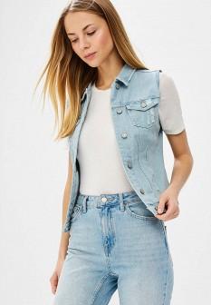 Женский голубой осенний джинсовый жилет