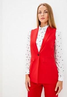 Женский красный осенний жилет