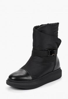 Женские черные кожаные сапоги на платформе