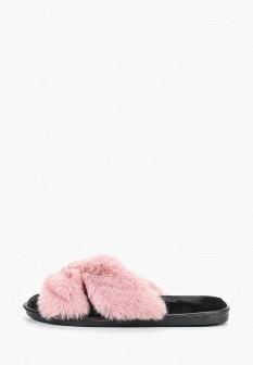 Женские розовые меховые тапочки