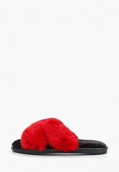 Женские красные меховые тапочки