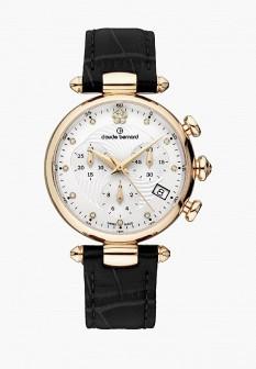 Женские черные золотые часы Claude Bernard
