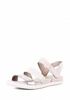 Женские бежевые кожаные сандалии из нубука