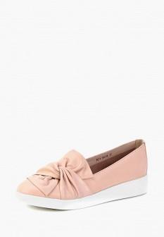 Женские розовые осенние кожаные туфли лоферы