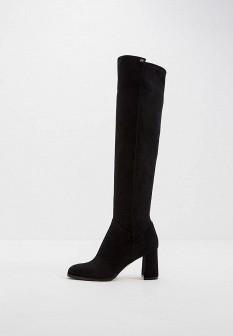 Черные итальянские осенние кожаные ботфорты