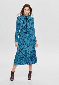 Голубое осеннее платье ONLY