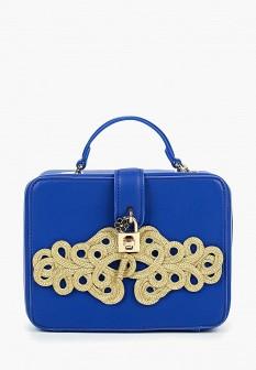 Женская синяя осенняя кожаная сумка