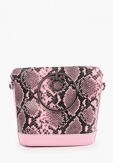 Женская розовая осенняя кожаная сумка