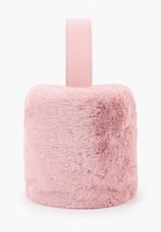 Женская розовая осенняя меховая сумка