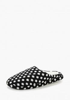 Женские черные осенние текстильные тапочки