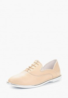 Женские бежевые осенние кожаные ботинки на каблуке
