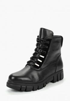 Женские черные осенние кожаные ботинки на платформе