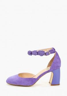 Женские фиолетовые осенние туфли на каблуке