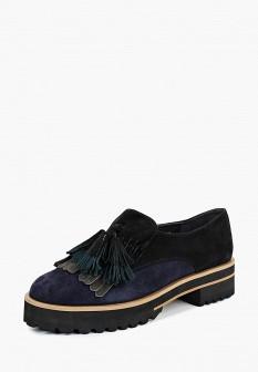 Женские синие осенние туфли лоферы на каблуке