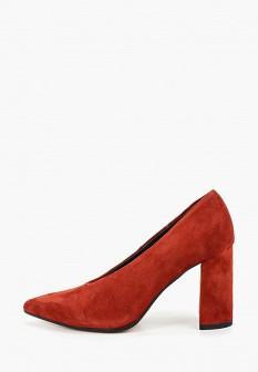 Женские красные осенние туфли на каблуке