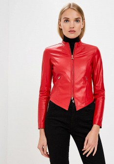Женская красная осенняя кожаная куртка