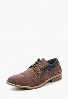 Мужские коричневые кожаные текстильные туфли