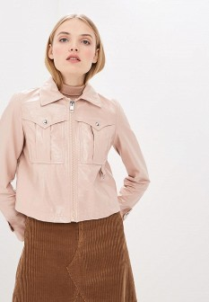 Женская розовая осенняя кожаная куртка