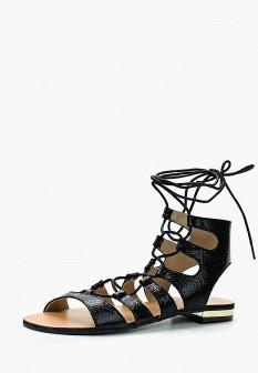 Женские черные осенние кожаные сандалии