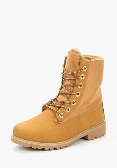Женские желтые осенние кожаные ботинки