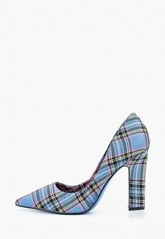 Женские голубые осенние текстильные туфли на каблуке