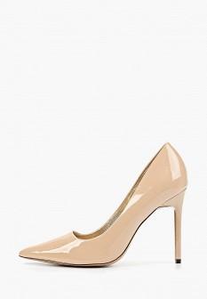 Женские розовые осенние кожаные туфли на каблуке