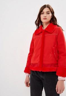 Женская красная осенняя джинсовая куртка