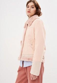 Женская розовая осенняя джинсовая куртка