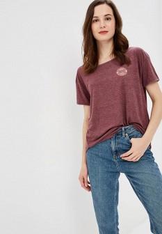 Женская бордовая осенняя спортивная футболка