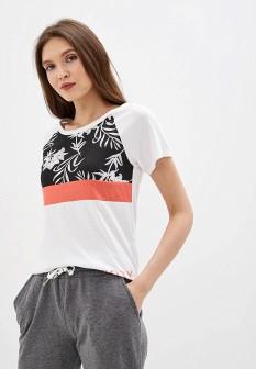 Женская белая черная осенняя коралловая футболка