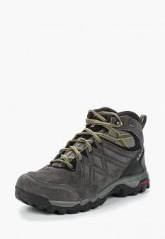 Мужские серые осенние кожаные трекинговые ботинки