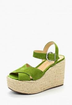 Женские зеленые босоножки на каблуке на платформе