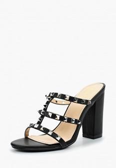 Женские черные сабо из искусственной кожи на каблуке