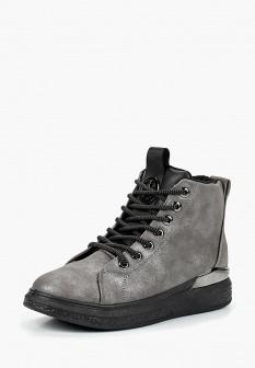 Женские серые осенние кожаные ботинки на каблуке