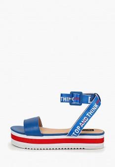 Женские синие кожаные сандалии